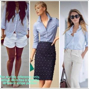 Facconable Blue-White Striped Button Shirt